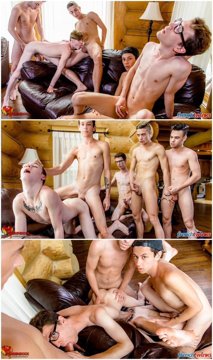 French and Canadian twinks orgy group fucking gay porn xxx (5)