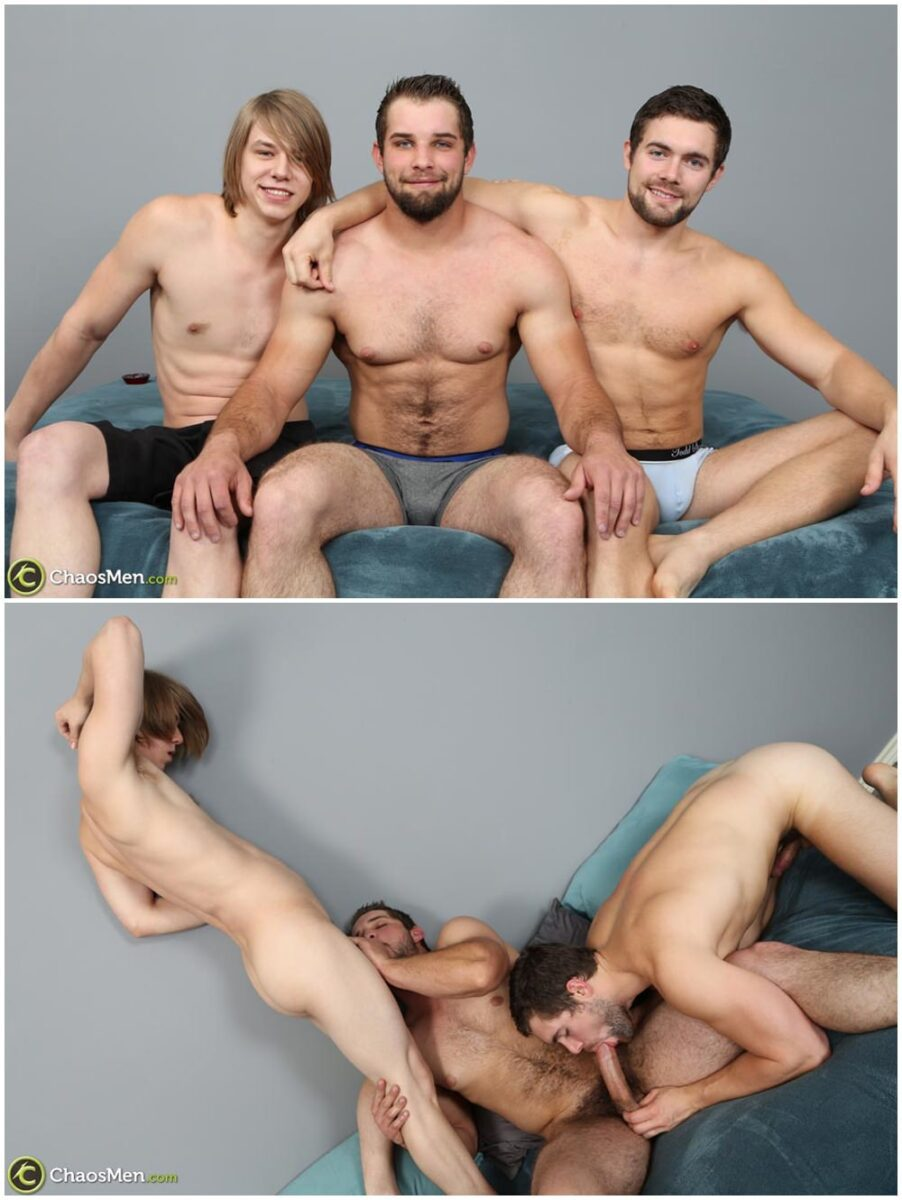 Two studs fuck twink bareback and breed his tight ass Chaosmen raw threesome gay porn xxx (1)