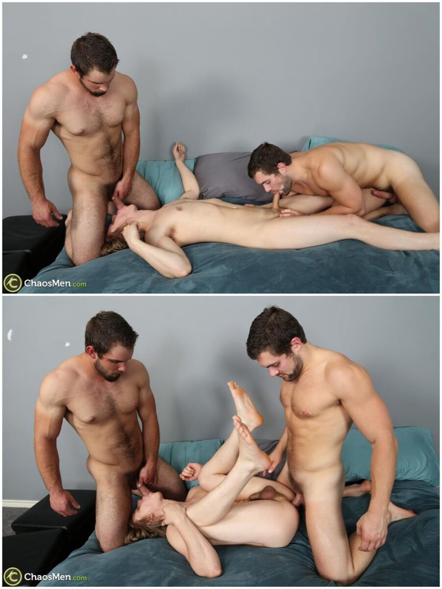 Two studs fuck twink bareback and breed his tight ass Chaosmen raw threesome gay porn xxx (3)