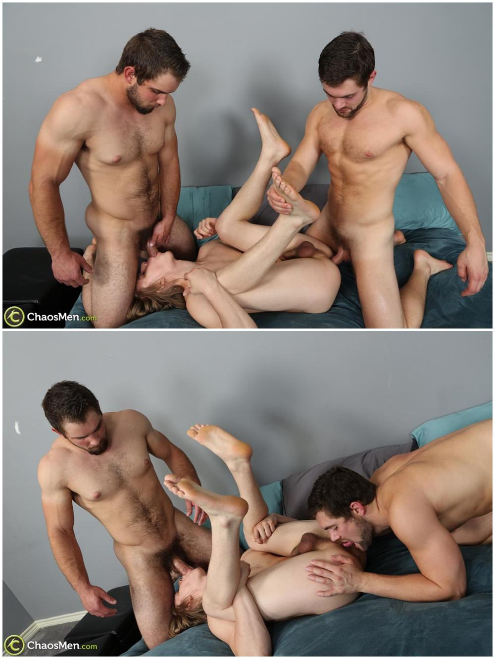 Two studs fuck twink bareback and breed his tight ass Chaosmen raw threesome gay porn xxx (4)