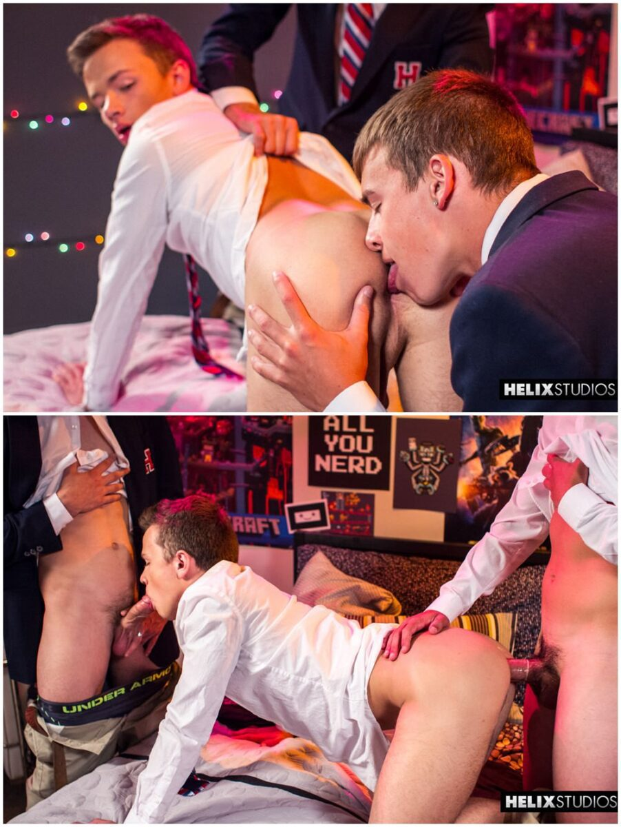 Helix Academy twink threesome Kody Knight & Troy Ryan fuck Logan Cross Helix Studios gay porn sex xxx (5)
