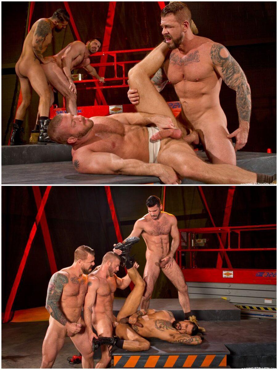 Inked muscle men orgy fourway fucking Raging Stallion gay porn anal sex xxx (5)