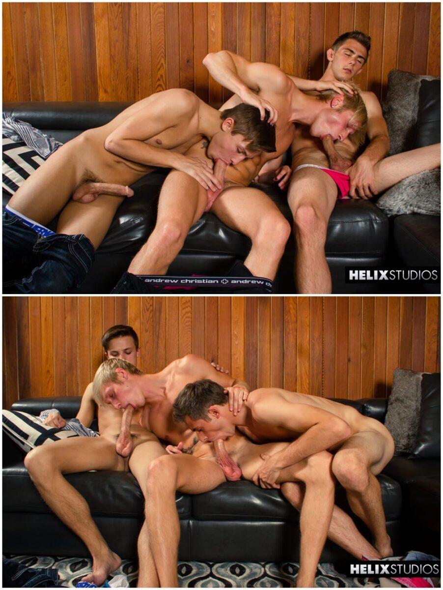 Max Carter, Kody Knight & Jacob Dixon bareback DP threesome raw breed twink sex Helix gay porn xxx (2)