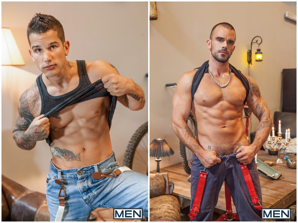 Damien Crosse fucks Pierre Fitch inked muscle studs tattoos anal sex Men.com gay porn xxx (1)