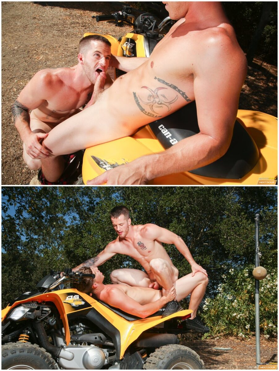 Sexy Jock Pulls His Dick On His Quadbike