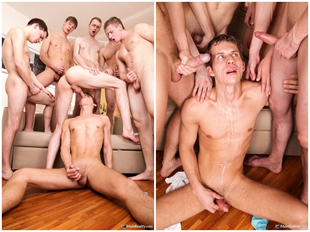 Gay Men In Group Sex Bukkake