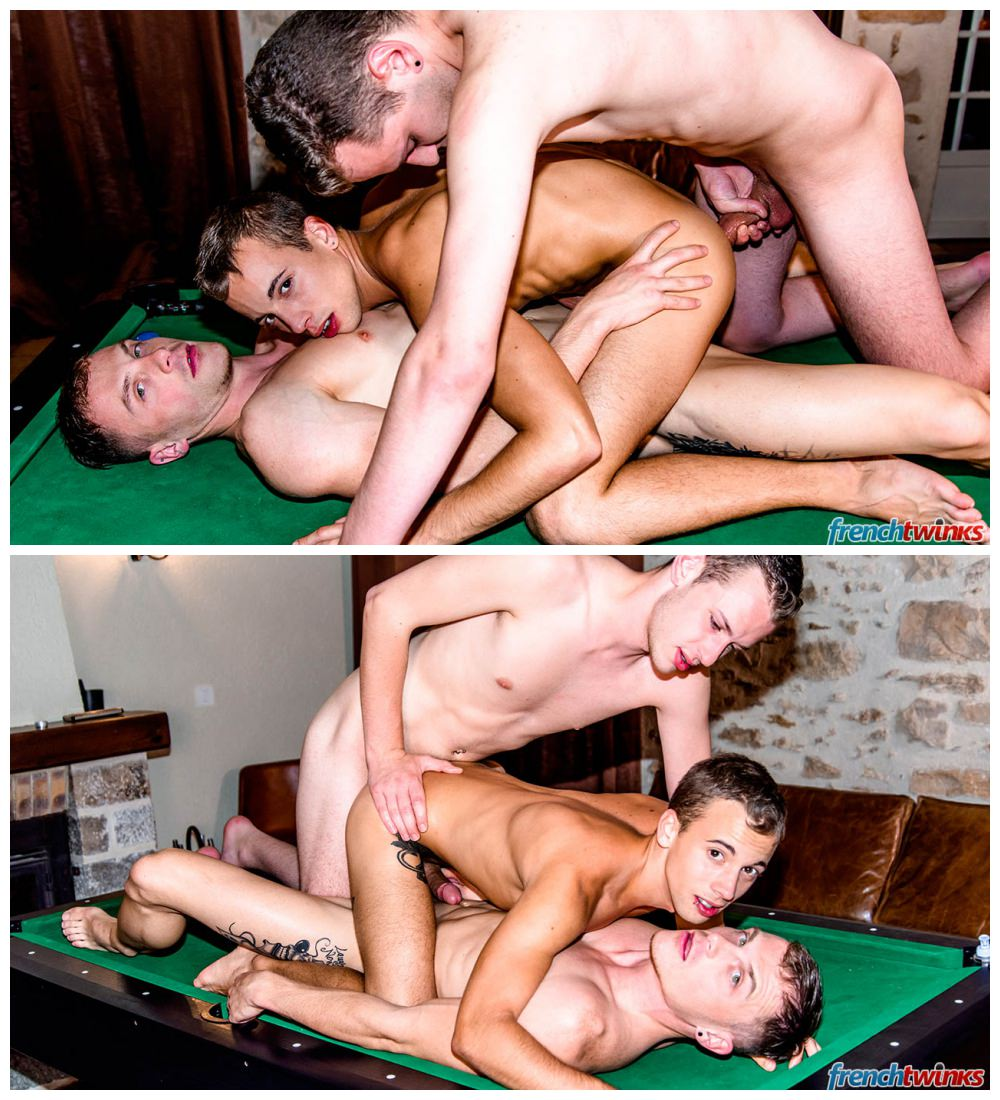 Gay threesome double penetration