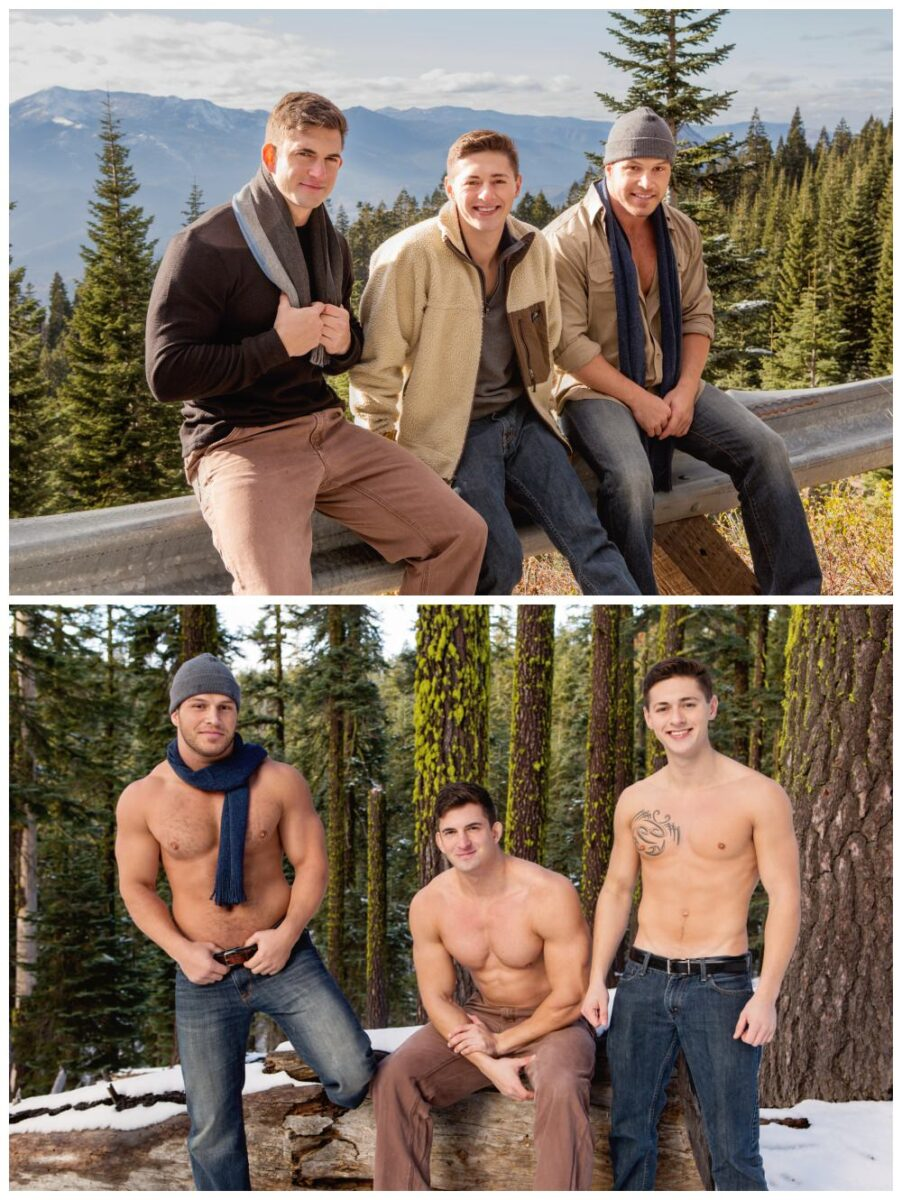 Bareback threesome horny muscle jocks outdoor raw anal sex gay porn breed cum Sean Cody mountain getaway xxx2
