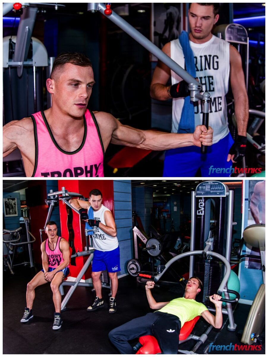 Jocks twink gym threeway fuck French Twinks Theo Ford, Luke Allen & Chris Loan threesome anal sex gay porn xxx1
