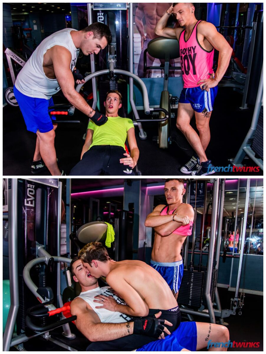 Jocks twink gym threeway fuck French Twinks Theo Ford, Luke Allen & Chris Loan threesome anal sex gay porn xxx2