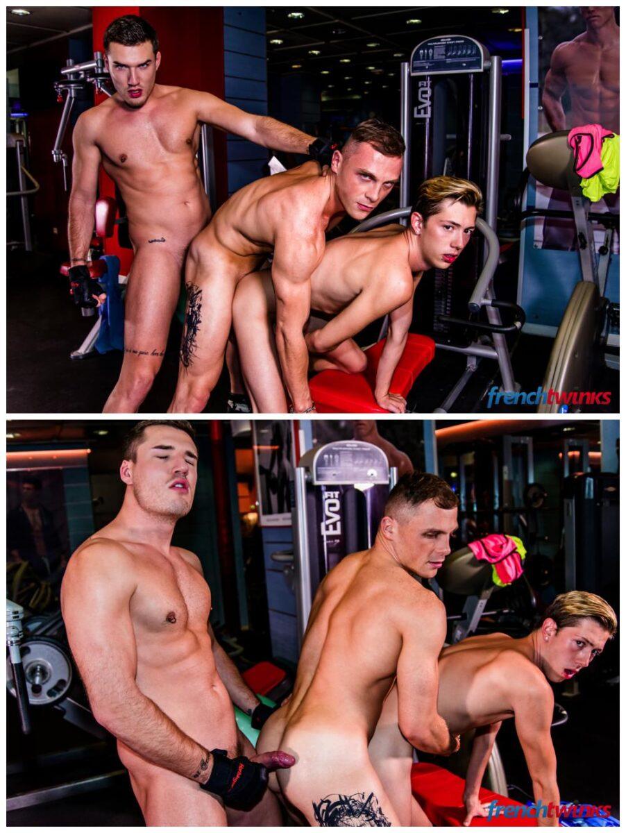 Jocks twink gym threeway fuck French Twinks Theo Ford, Luke Allen & Chris Loan threesome anal sex gay porn xxx7