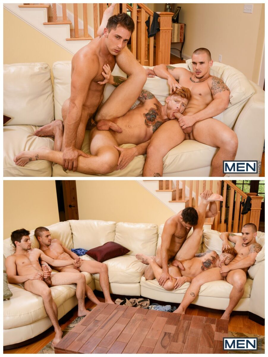 Gay anal group sex with a rod in his culo