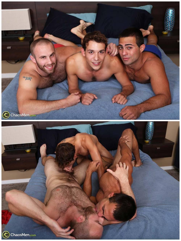 Bareback threesome. Raw double penetration spit roasting anal sex. gay porn breeding. Breed cum fuck Chaosmen xxx1