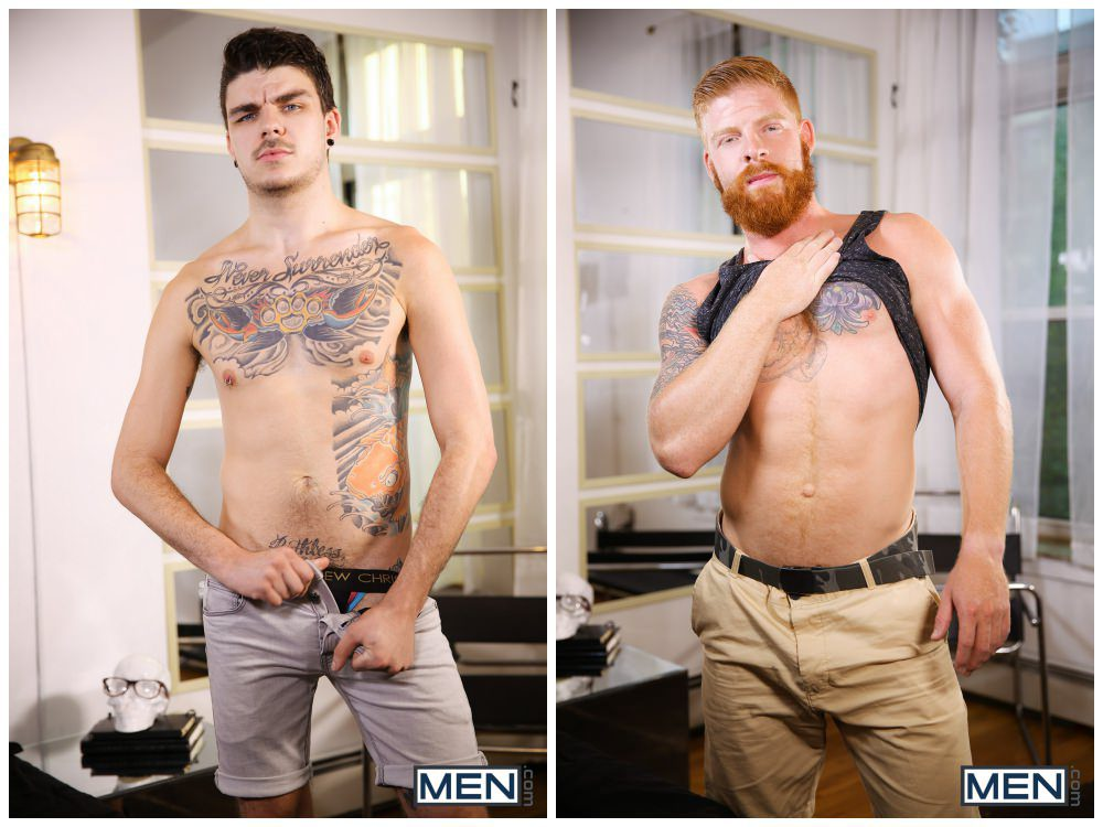 Ginger hairy bearded hunk Bennett Anthony xxx fucks inked young tattooed stud Luke Harding. gay porn anal sex, cum facial men fucking. 1
