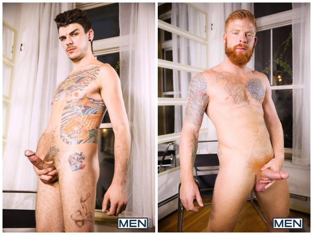 Ginger hairy bearded hunk Bennett Anthony xxx fucks inked young tattooed stud Luke Harding. gay porn anal sex, cum facial men fucking. 3
