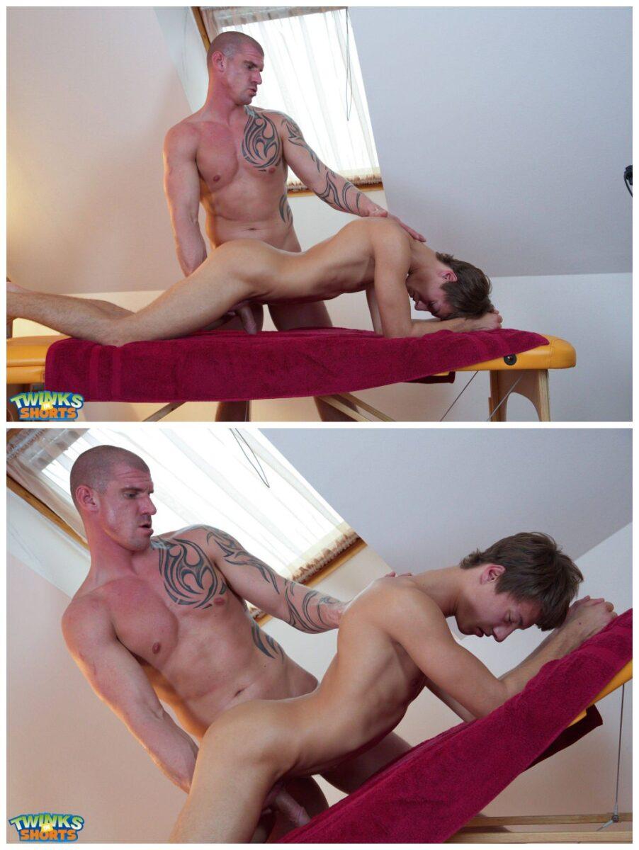 Hung twink Tommy Hunter big dick jerked off Marc Born tattooed stud oil massage foot play Twinks In Shorts gay porn xxx2