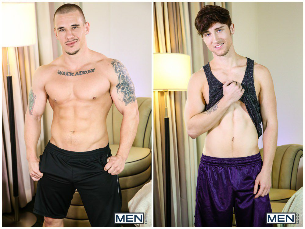 Inked muscle stud Adam Bryant fucks sexy jock Scotty Zee. Anal sex gay porn. MEN xxx1