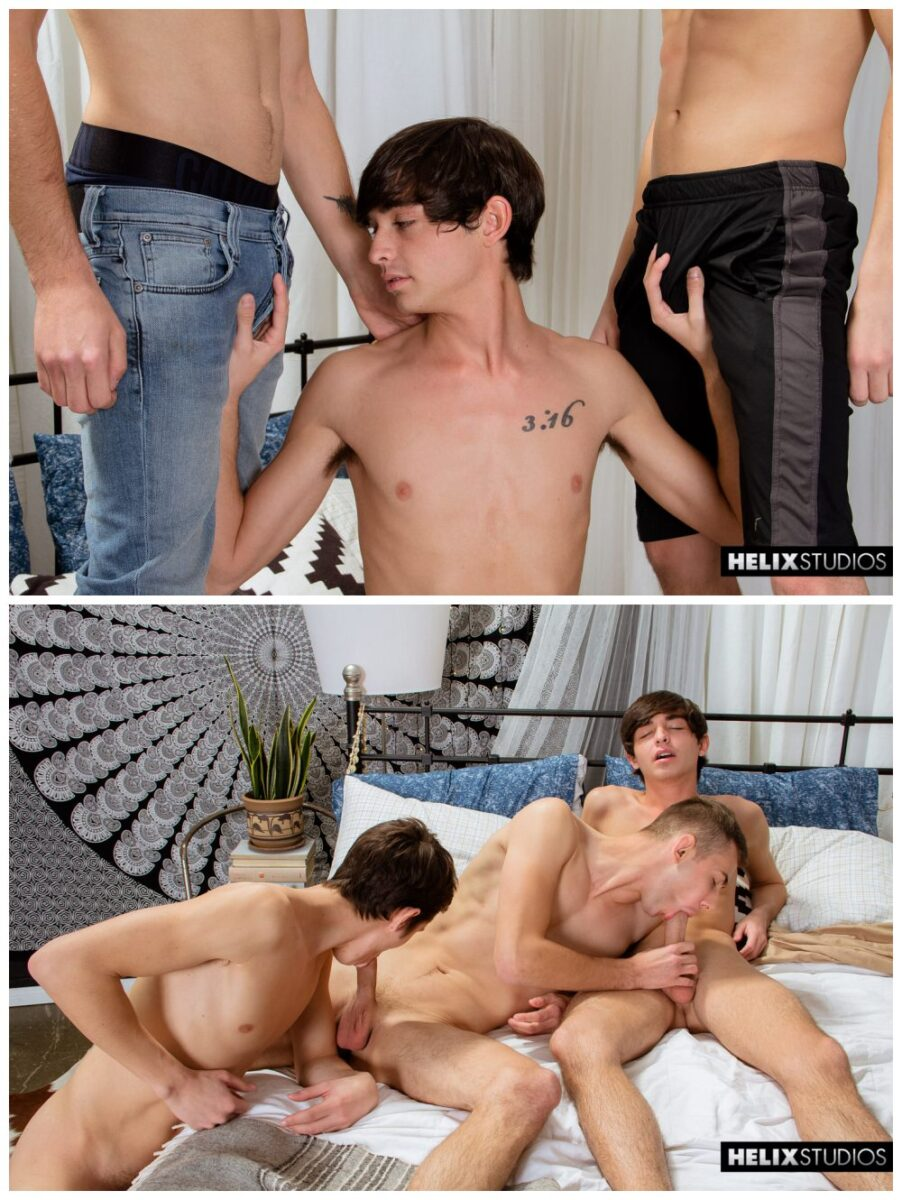 Two gays breeding slim twink in jock staps deep inside