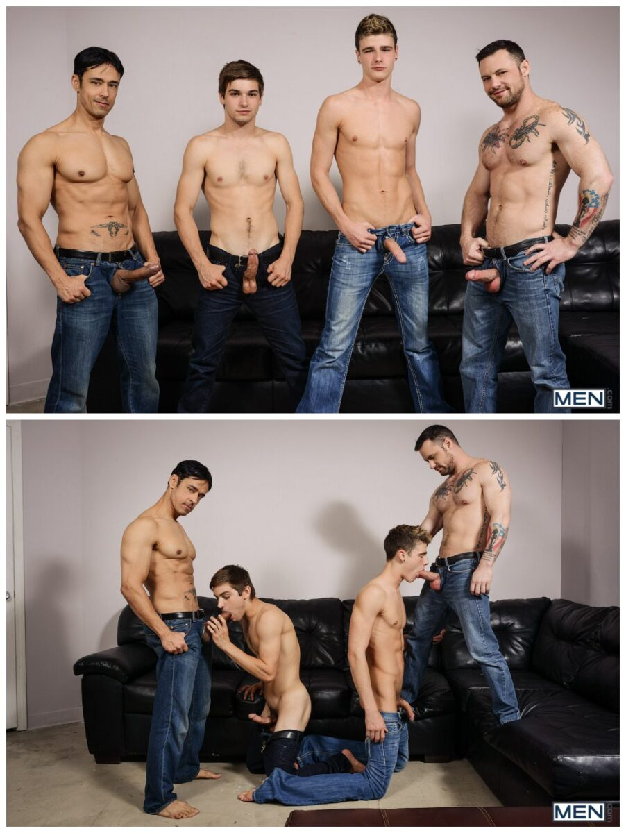 Gay group sex jizz orgy, Johnny Rapid xxx & Travis Stevens xxx, twinks & jocks take an ass pounding from hung inked hunks Rafael Alencar & Sergeant Miles, MEN free gay porn pics video.4