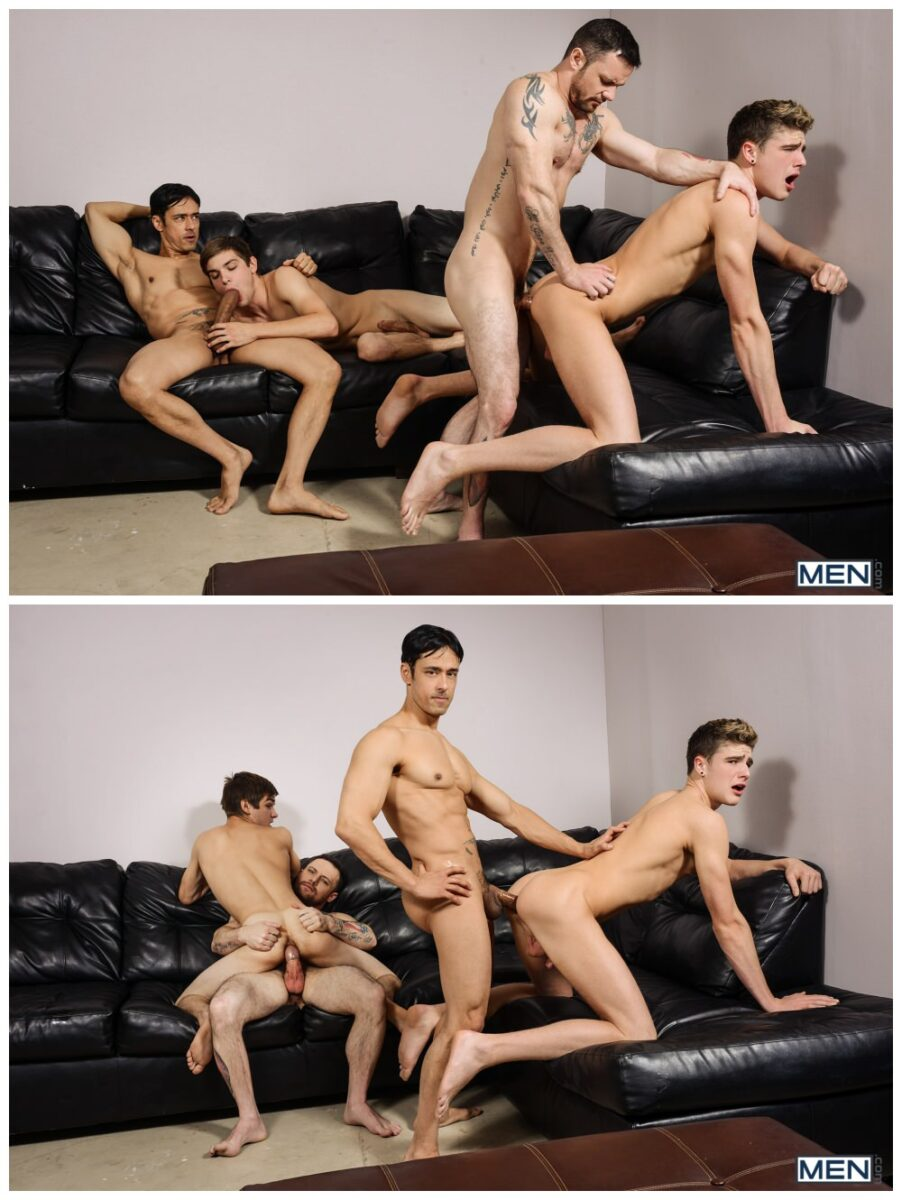 Gay group sex jizz orgy, Johnny Rapid xxx & Travis Stevens xxx, twinks & jocks take an ass pounding from hung inked hunks Rafael Alencar & Sergeant Miles, MEN free gay porn pics video.6