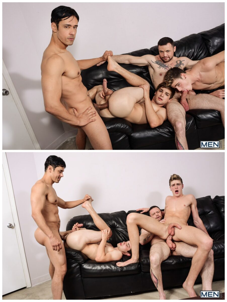 Gay group sex jizz orgy, Johnny Rapid xxx & Travis Stevens xxx, twinks & jocks take an ass pounding from hung inked hunks Rafael Alencar & Sergeant Miles, MEN free gay porn pics video.7