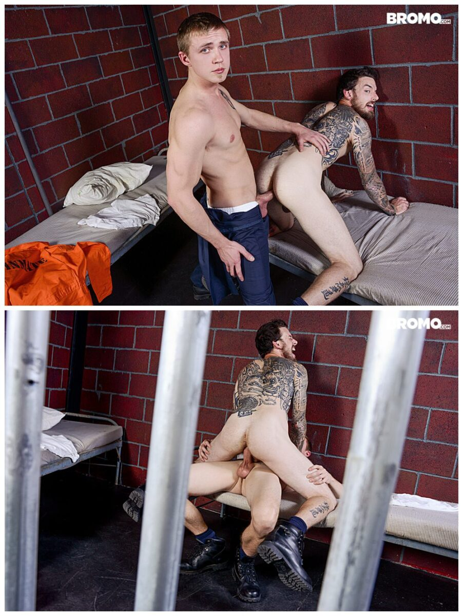 Bareback in Prison Zane Anders fucks inked stud Rocko South, Bromo xxx free gay porn, raw anal sex free video and pics.6