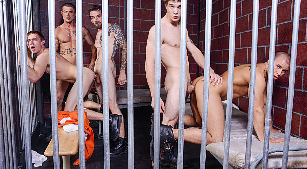 Bareback prison orgy fuck fest, five horny studs fuck raw behind bars, jail bait fucking inked guys, Bromo xxx free gay porn video and pics.1