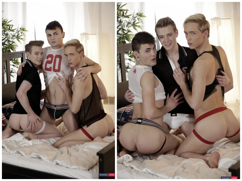 Euro twink raw double penetration threesome, bareback jocks, big dicks uncut cocks, boys fucking in bed fuck train DP action, Staxus xxx free gay porn.2