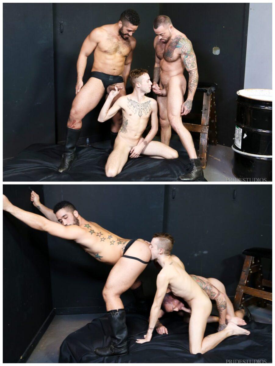 The Big Dick Club part 2, hung threesome inked jock Sean Christopher fucks tattooed hunks Sean Duran and Trent Turner, men fucking anal sex threeway, Extra Big Dicks xxx free gay porn.4