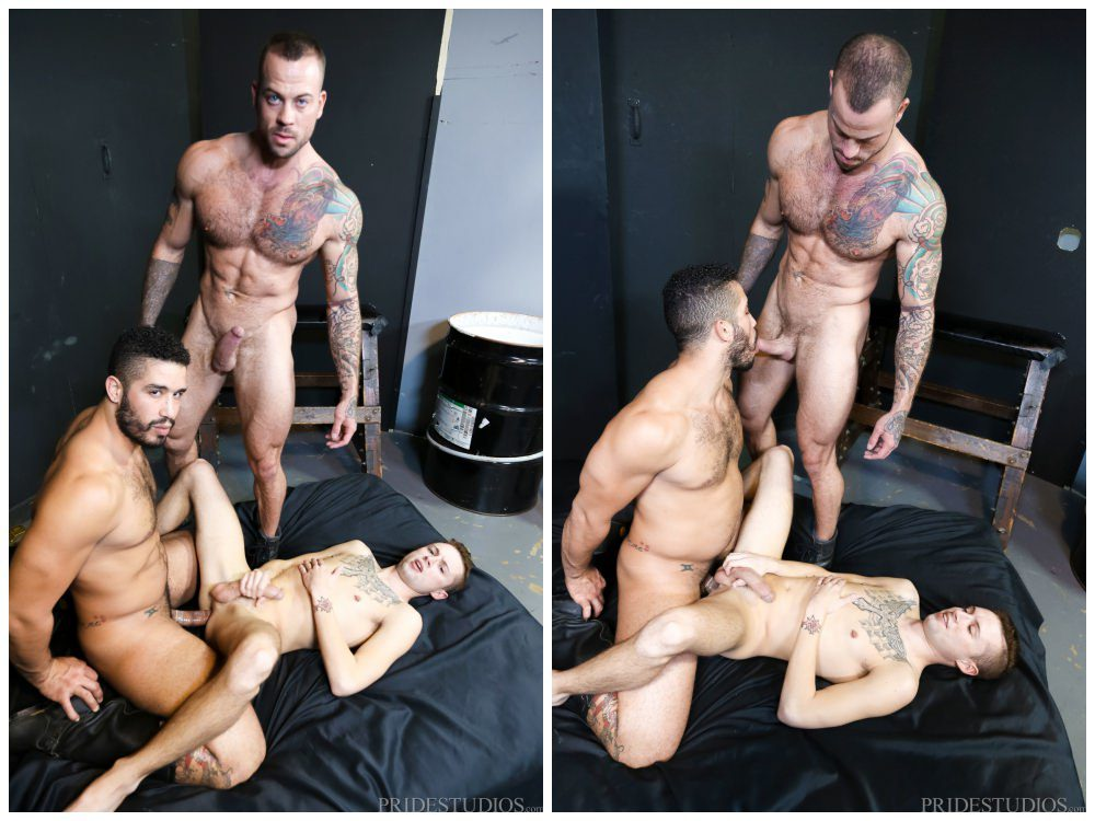 The Big Dick Club part 2, hung threesome inked jock Sean Christopher fucks tattooed hunks Sean Duran and Trent Turner, men fucking anal sex threeway, Extra Big Dicks xxx free gay porn.6