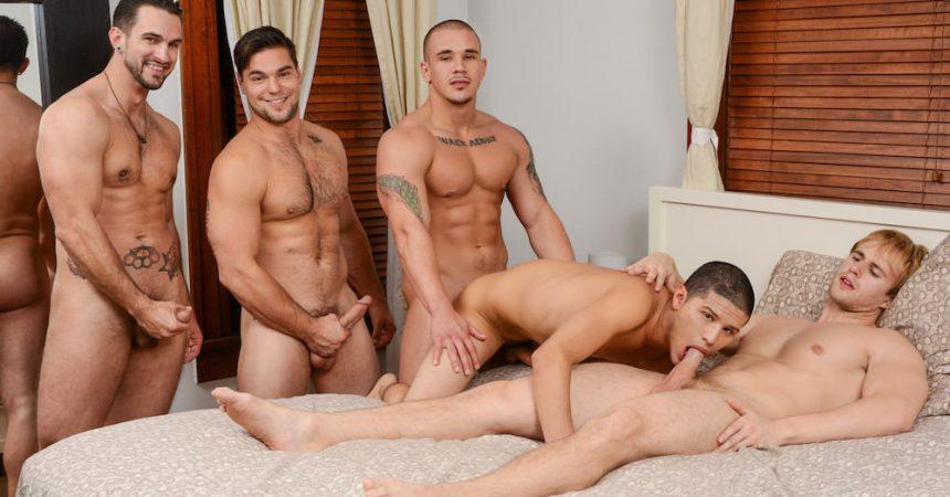 Gay gang bang orgy