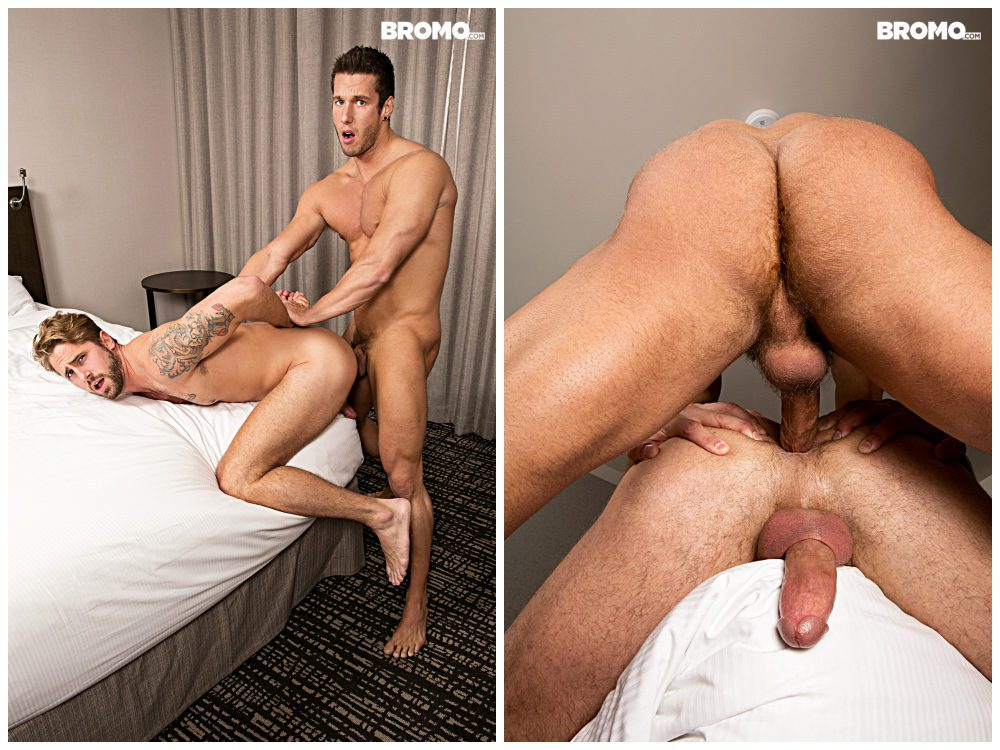Gay studs in hot bareback sex