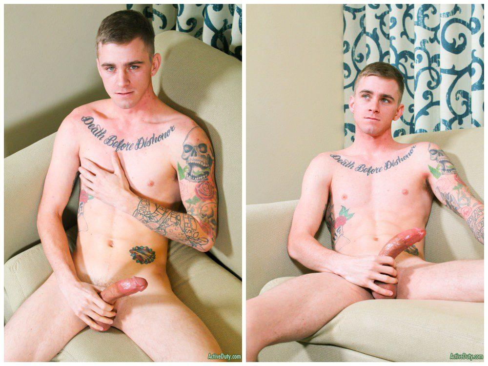 Hung inked jock Ryan Jordan jerks off, Active Duty xxx free gay porn.6