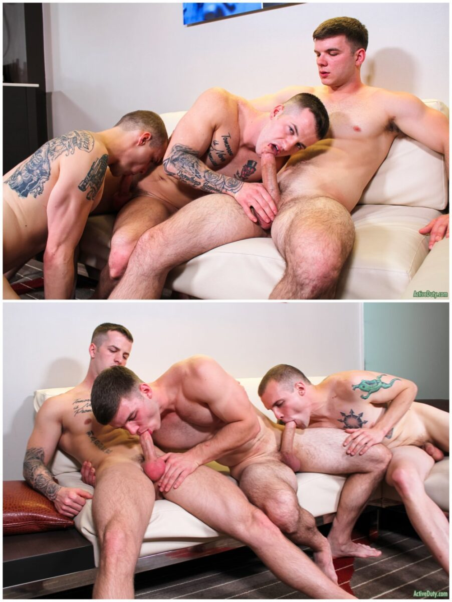 Bareback dopuble penetration threesome, inked jocks fucking raw, Active Duty xxx free gay porn video and pics.5