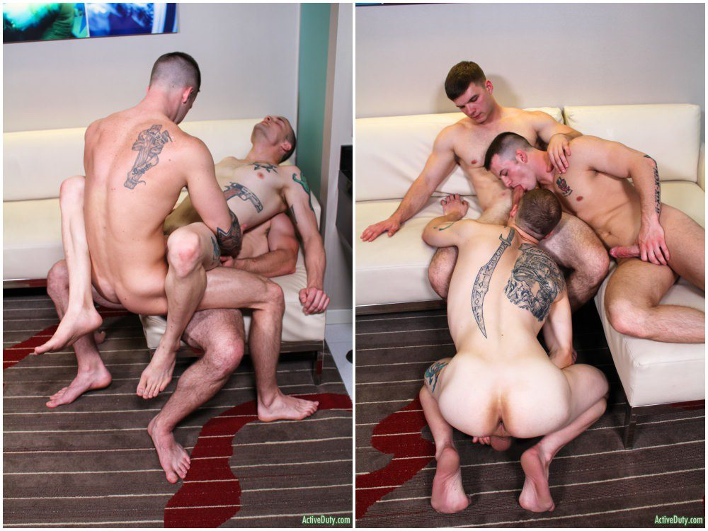 Bareback dopuble penetration threesome, inked jocks fucking raw, Active Duty xxx free gay porn video and pics.8