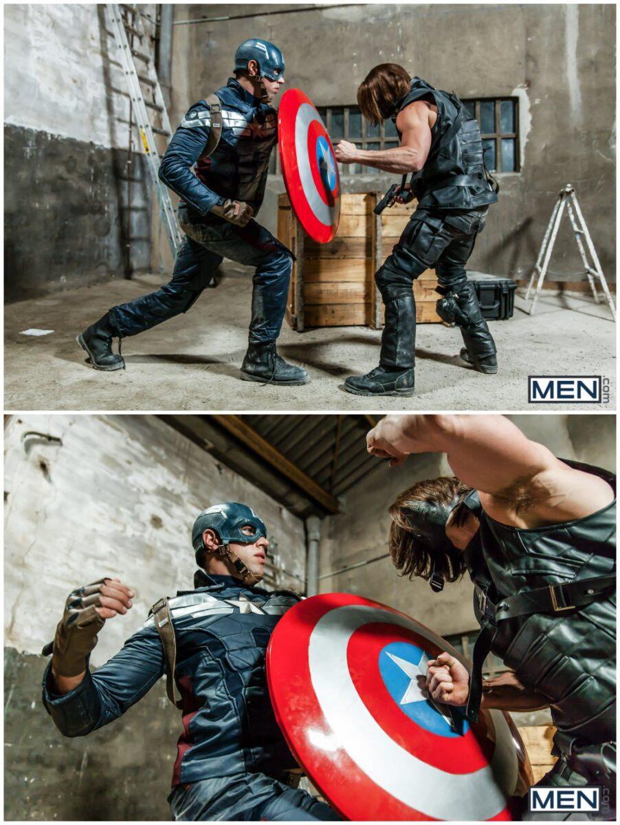 Captain America A Gay XXX Parody part 3, Paddy O'Brian fucks Alex Mecum, horny hunks anal sex, MEN.com free gay porn videos and pics.3