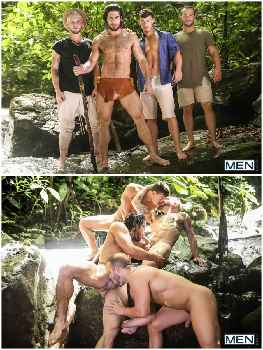 Outdoor jungle hunks & jock orgy, Tarzan A Gay XXX Parody part 3, muscle men anal sex fucking, group sex, MEN free gay porn videos and pics.4