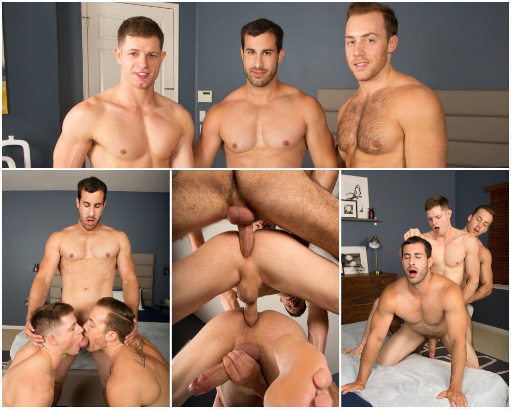 Bareback breeding threesome, Dean, Cory, Randy muscle jocks raw threeway, anal sex, creampie cum breed, Sean Cody xxx free gay porn video and pics.1