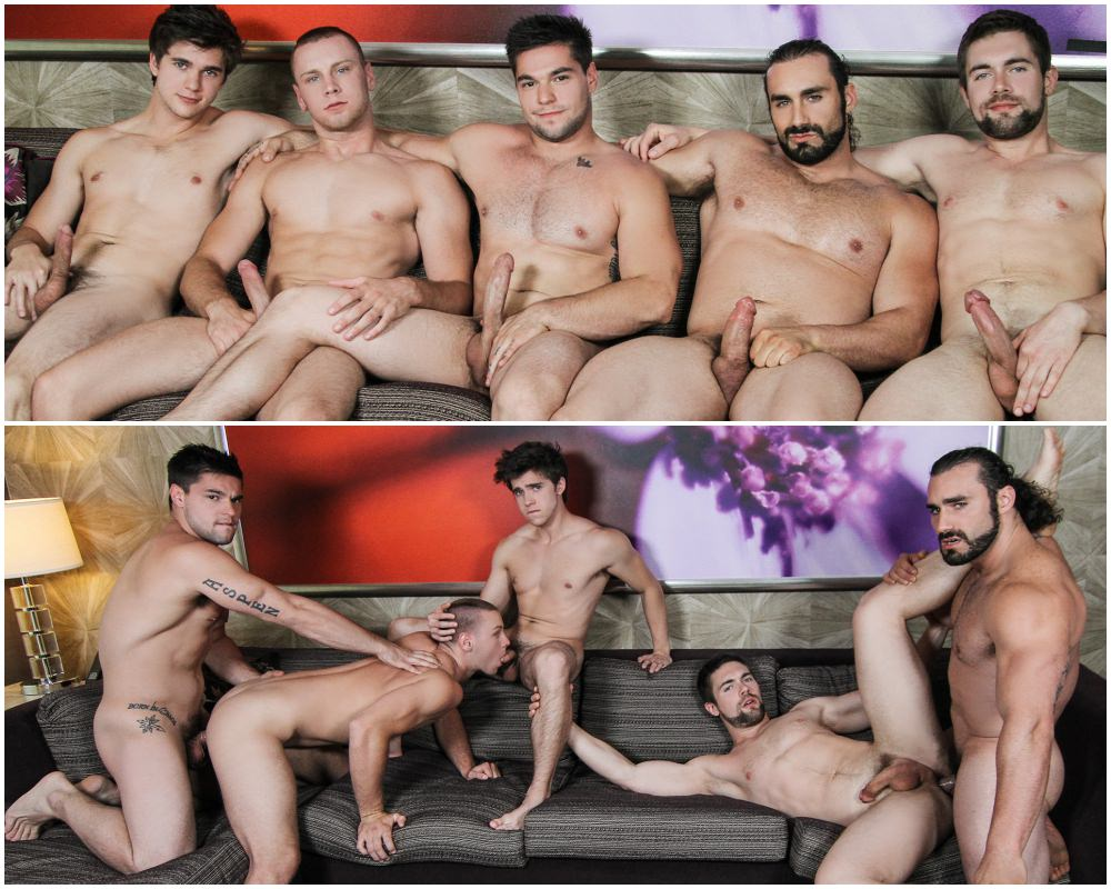 Epic five man orgy group sex fucking, gang band flip-flop fuck, muscle men and jocks anal sex, MEN.com xxx free gay porn videos and pics What Happens In Vegas part 4.1