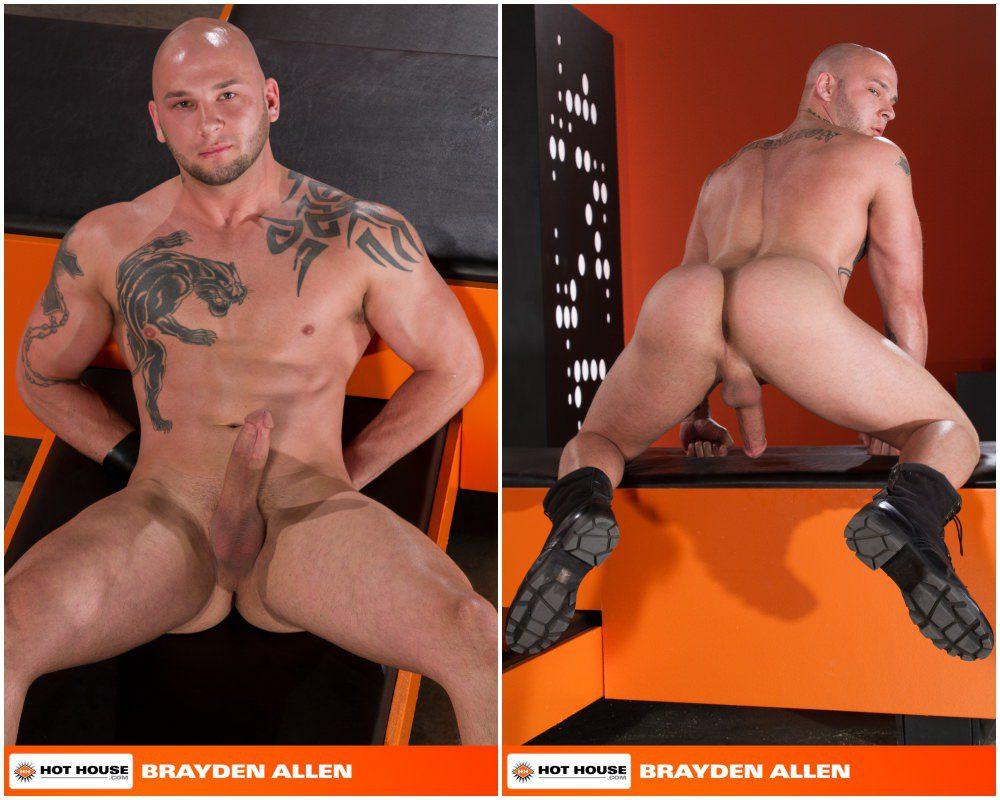 Sebastian Kross fucks Brayden Allen in Slicked Up, shiny rubber shorts and harness, fetish sex, inked jocks and hunks fucking, Hot House xxx free gay porn videos and pics.3