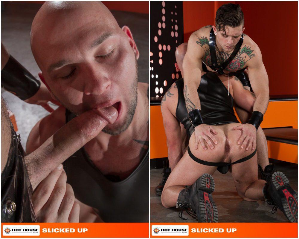 Sebastian Kross fucks Brayden Allen in Slicked Up, shiny rubber shorts and harness, fetish sex, inked jocks and hunks fucking, Hot House xxx free gay porn videos and pics.4