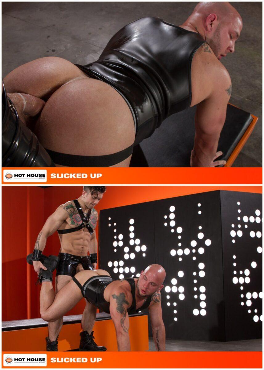 Sebastian Kross fucks Brayden Allen in Slicked Up, shiny rubber shorts and harness, fetish sex, inked jocks and hunks fucking, Hot House xxx free gay porn videos and pics.6