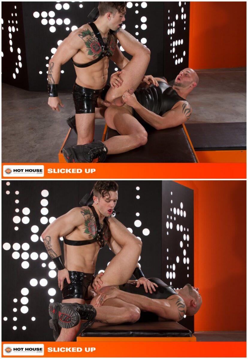 Sebastian Kross fucks Brayden Allen in Slicked Up, shiny rubber shorts and harness, fetish sex, inked jocks and hunks fucking, Hot House xxx free gay porn videos and pics.7