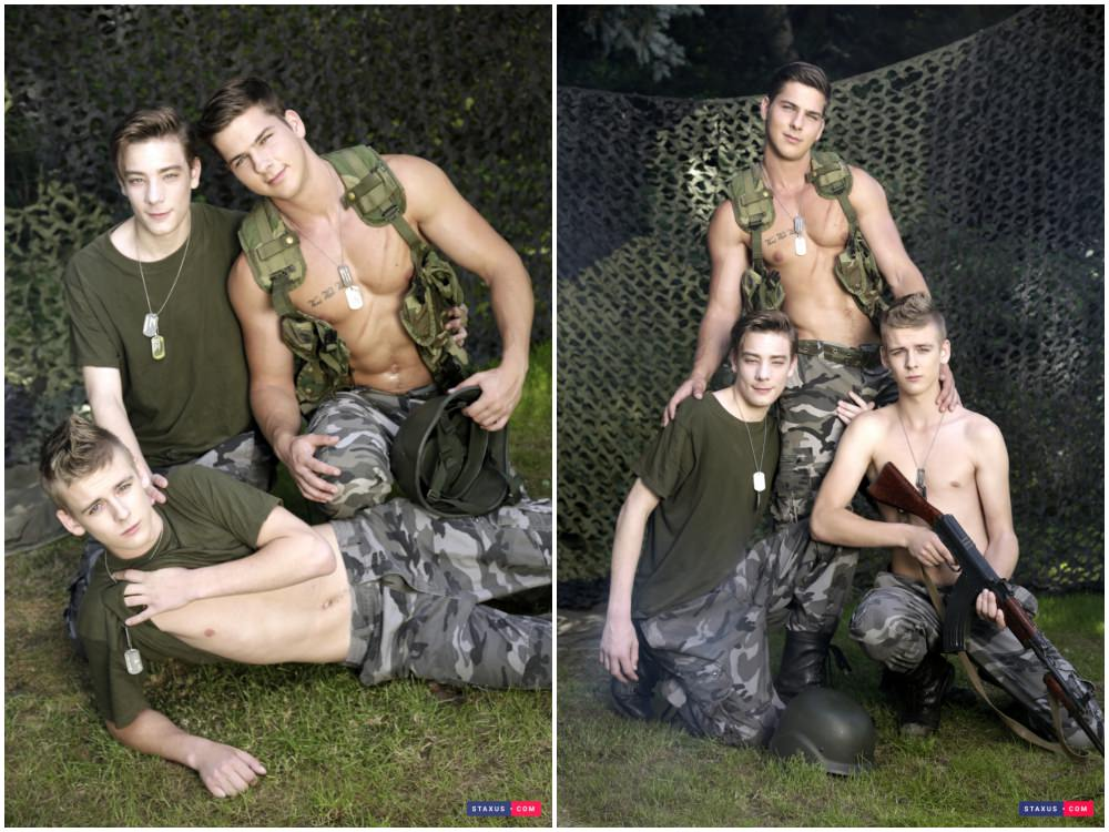 Army Boys Threeway Fun