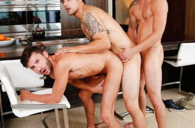 Tattooed Jock Threeway Anal Drilling