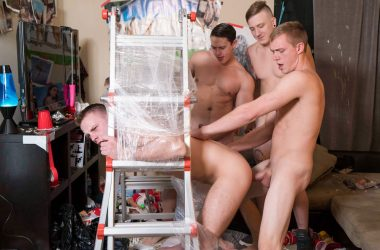 Bareback Frat-Boy Ladder Fuck!