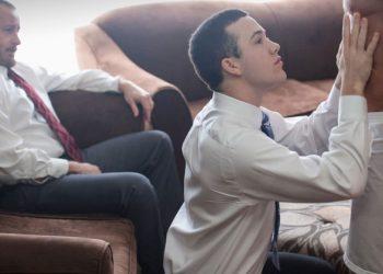 Mormon Twink & Daddies Bareback Threesome