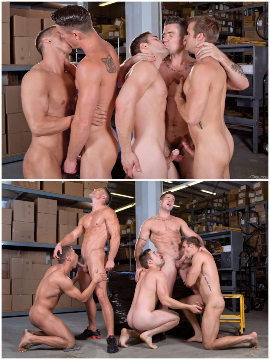 Muscled Studs Suck And Fuck In Orgy
