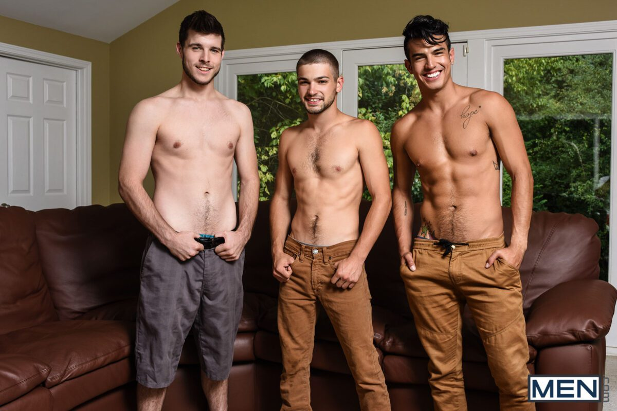 It's a smoking-hot threesome that ends with Leo getting a shower again –  but this time in hot cum!
